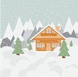 Τοπίο και σαλέ σκι στα βουνά με το χιόνι και τα δέντρα Στοκ Εικόνα