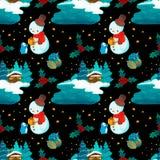 Τοπίο και χιονάνθρωπος σχεδίων Χριστουγέννων με το penguin ελεύθερη απεικόνιση δικαιώματος