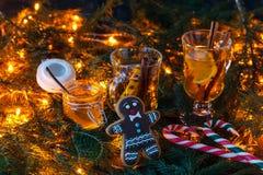 Τοπίο και ψυχαγωγίες Χριστουγέννων με τα καρυκεύματα και τα εσπεριδοειδή Στοκ Φωτογραφίες