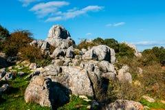 Τοπίο καρστ στο φυσικό πάρκο EL Torcal de Antequera, Ανδαλουσία Στοκ φωτογραφίες με δικαίωμα ελεύθερης χρήσης