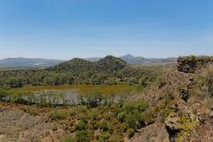 Τοπίο κοντά στη λίμνη Naivasha στην Αφρική, λίμνη κρατήρων Στοκ φωτογραφία με δικαίωμα ελεύθερης χρήσης