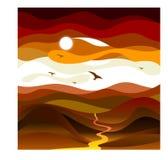 Τοπίο-κόκκινος-γραμμές Στοκ Εικόνες