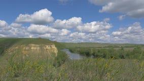 Τοπίο με έναν ποταμό, χλόη, βράχος, σύννεφα απόθεμα βίντεο