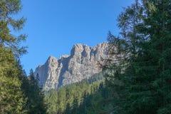 Τοπίο με ένα πράσινο δάσος, τα βουνά και το μπλε ουρανό Στοκ εικόνα με δικαίωμα ελεύθερης χρήσης