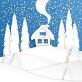 Τοπίο με ένα χειμερινό σπίτι στο χιόνι Κομψό δασικό σχέδιο περικοπών εγγράφου Χαρούμενα Χριστούγεννα και νέα τέχνη εγγράφου έτους διανυσματική απεικόνιση