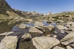 Τοπίο με μια λίμνη στην περιοχή Ordina Arcalis στη Ανδόρα Στοκ Φωτογραφία