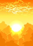 Τοπίο με τα δέντρα και τα σύννεφα διανυσματική απεικόνιση
