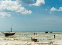 Τοπίο με τα αλιευτικά σκάφη στην ακτή, Zanzibar Στοκ Φωτογραφίες