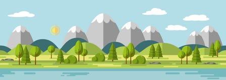Τοπίο με τα βουνά Στοκ Εικόνα