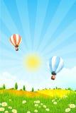 Τοπίο με τα μπαλόνια ζεστού αέρα Στοκ εικόνες με δικαίωμα ελεύθερης χρήσης