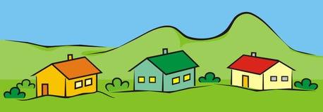 Τοπίο με τα σπίτια διανυσματική απεικόνιση