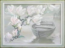 Τοπίο με τα magnolias και τη βάρκα άνθισης Ελαιογραφία στον καμβά Στοκ εικόνα με δικαίωμα ελεύθερης χρήσης