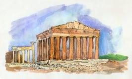 Τοπίο με την αθηναϊκή ακρόπολη στην Ελλάδα ελεύθερη απεικόνιση δικαιώματος