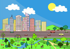 Τοπίο με την αφηρημένη πόλη και το άνετο πάρκο Διανυσματική ανασκόπηση Στοκ εικόνα με δικαίωμα ελεύθερης χρήσης
