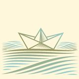 Τοπίο με τη βάρκα εγγράφου Στοκ Εικόνες