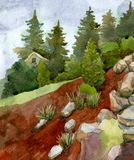 Τοπίο με τις πέτρες, τα λουλούδια, τα δέντρα και τα πεύκα ενάντια στον ουρανό διανυσματική απεικόνιση
