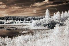 Τοπίο με τις υπέρυθρες ακτίνες λιμνών Στοκ Εικόνα