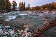 Τοπίο με τον ποταμό στα βουνά Altai, Ρωσία Στοκ εικόνα με δικαίωμα ελεύθερης χρήσης