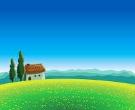 Τοπίο με το λιβάδι και το σπίτι Διανυσματική απεικόνιση