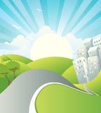 Τοπίο με το δρόμο. Διανυσματική θερινή ημέρα Στοκ εικόνα με δικαίωμα ελεύθερης χρήσης