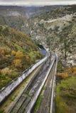 Τοπίο με το φράγμα στην Ισπανία Λα Almendra Arribes del Duero Στοκ Φωτογραφία