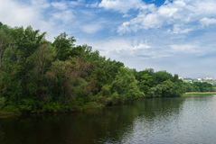 Τοπίο με Dnepr τον ποταμό Στοκ φωτογραφίες με δικαίωμα ελεύθερης χρήσης