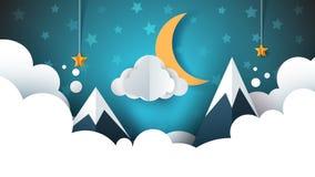 Τοπίο νύχτας - απεικόνιση κινούμενων σχεδίων Σύννεφο, βουνό, φεγγάρι, αστέρι ελεύθερη απεικόνιση δικαιώματος