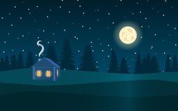 Τοπίο νύχτας Δάσος, φεγγάρι, αστέρια και το ξύλινο σπίτι απεικόνιση αποθεμάτων