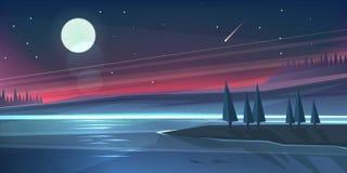 Τοπίο νύχτας στη λίμνη Στοκ Φωτογραφία