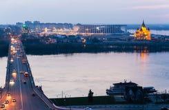 Τοπίο νύχτας στο βέλος που αγνοεί το χώρο ποδοσφαίρου σε Nizhn στοκ εικόνες με δικαίωμα ελεύθερης χρήσης