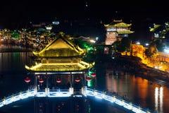 Τοπίο νύχτας της κωμόπολης του Phoenix (αρχαία πόλη Fenghuang) Στοκ εικόνα με δικαίωμα ελεύθερης χρήσης