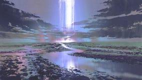 Τοπίο νύχτας του καταρράκτη στον ουρανό διανυσματική απεικόνιση