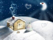 Τοπίο νύχτας Χριστουγέννων Στοκ φωτογραφία με δικαίωμα ελεύθερης χρήσης