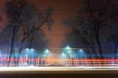 Τοπίο νύχτας Winter Park Στοκ εικόνα με δικαίωμα ελεύθερης χρήσης