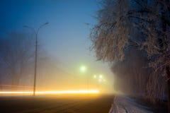 Τοπίο νύχτας Winter Park Στοκ φωτογραφία με δικαίωμα ελεύθερης χρήσης