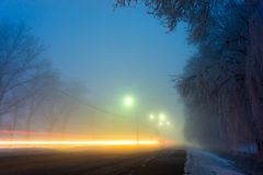 Τοπίο νύχτας Winter Park Στοκ Εικόνες