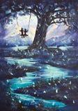 Τοπίο, ο τύπος και το κορίτσι ελαιογραφίας το φανταστικό οδηγούν στην ταλάντευση, μεγάλο σκοτεινό δέντρο, βουνά στο υπόβαθρο Στοκ φωτογραφία με δικαίωμα ελεύθερης χρήσης