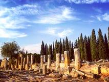 Τοπίο οδών Hierapolis Pamukkale, Τουρκία Στοκ φωτογραφίες με δικαίωμα ελεύθερης χρήσης