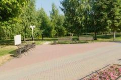 τοπίο πάρκων πάγκων φθινοπώρου Στοκ Φωτογραφία