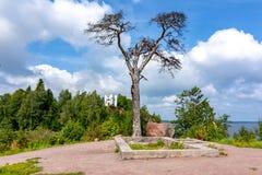 Τοπίο πάρκων Monrepos, Vyborg, Ρωσία στοκ εικόνα