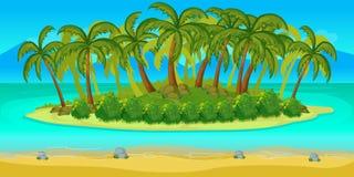 Τοπίο παιχνιδιών νησιών, διανυσματικό ατελείωτο υπόβαθρο με τα χωρισμένα στρώματα ξέν. Στοκ Φωτογραφία
