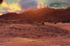 Τοπίο πλανητών ερήμων στην επιστημονική φαντασία ακόμα όπως συνθέτοντας ελεύθερη απεικόνιση δικαιώματος