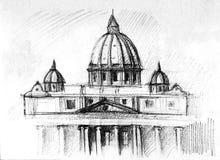 Τοπίο που σύρεται με το μελάνι και το στυλό με τον καθεδρικό ναό του ST Peter απεικόνιση αποθεμάτων