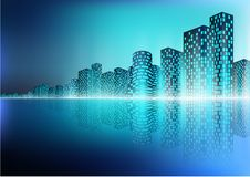 Τοπίο πόλεων με την αντανάκλαση Στοκ εικόνα με δικαίωμα ελεύθερης χρήσης