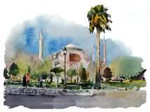 Τοπίο πόλεων Watercolor με το παλαιό μουσουλμανικό τέμενος Στοκ Φωτογραφίες