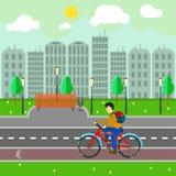 Τοπίο πόλεων με τα κτήρια, τη διανυσματική απεικόνιση δρόμων και ποδηλατών Στοκ Εικόνα