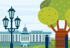 Τοπίο πόλεων με το κτήριο, το δρύινο δέντρο και το φωτισμό Στοκ εικόνα με δικαίωμα ελεύθερης χρήσης