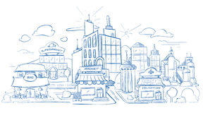 Τοπίο πόλεων με το σύγχρονο σκίτσο μολυβιών κτηρίων, χέρι που σύρεται, doodle διανυσματική απεικόνιση διανυσματική απεικόνιση