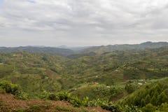Τοπίο Ρουάντα, Αφρική βουνοπλαγιών Στοκ Φωτογραφία