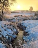 Τοπίο σε ένα χειμερινό πρωί Στοκ Εικόνες